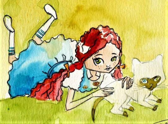 Watercolor painting of little red haired French girl in blue dress lying down in grass with her grey and white cat