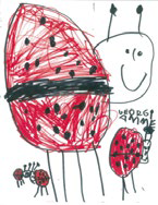 Children's drawing of ladybugs