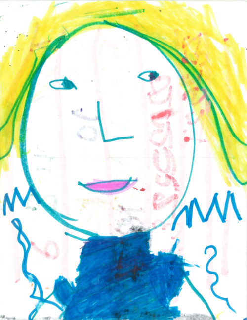 Child's self portrait drawing done in marker.