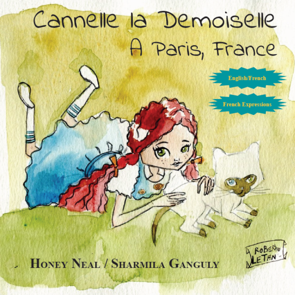 """Cover of children's book """"Cannelle la Demoiselle"""". Featuring watercolor painting of red haired little girl with cat."""